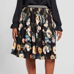 Ava & Viv Women's Pleated Floral Midi Skirt Sz 2X